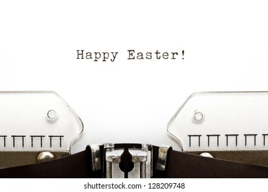 Happy Easter greeting printed on an old typewriter.