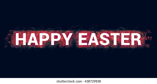 Happy easter headline. Artistic illustration with red paint-splatters and  scratches on dark blue background and white, bold letters.