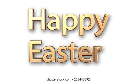 Happy Easter message isolated on white background