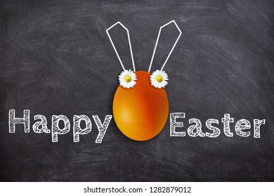 Happy easter - Orange easter egg with text