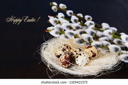 Happy Easter! Quail eggs in nest with pussy willow flowers, Easter background