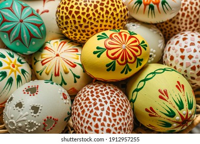 Happy Easter.Colorful hand painted decorated Easter eggs. Handmade Easter craft.Spring decoration background. Festive tradition for Eastern European countries.Holiday Still life photo selective focus  - Shutterstock ID 1912957255