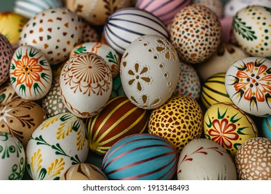 Happy Easter.Colorful hand painted decorated Easter eggs. Handmade Easter craft.Spring decoration background. DIY Festive traditional symbols.Holiday Still life photo selective focus - Shutterstock ID 1913148493
