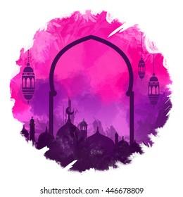 happy Eid, Eid Mubarak beautiful greeting card With Pink and purple digital art background