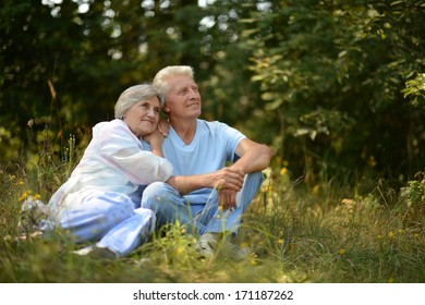Happy elder couple resting on grass at nature