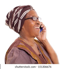 happy elderly african woman talking on smart phone on white background