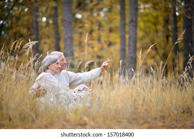 Happy elderly couple sitting in autumn park