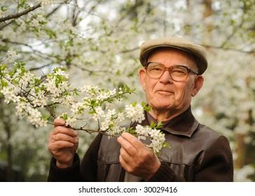 Happy elderly man in a garden
