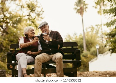 Happy elderly man and woman sitting on park bench and toasting coffee. Senior couple picnicking at the park.