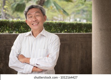 happy elderly old senior man, smiling elderly old senior man, confident content elderly old senior man portrait; portrait of happy retired pensioner with smile face; asian elderly old senior man model