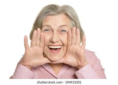 Happy elderly woman isolated on white background