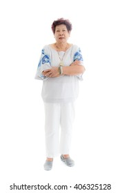 happy elderly woman. Isolated over white background