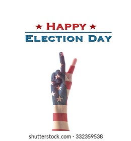Happy election day with Isolated  V shape hand sign for voting on USA election day