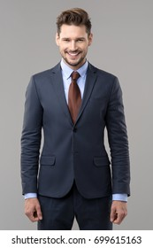Happy elegant man wear suit