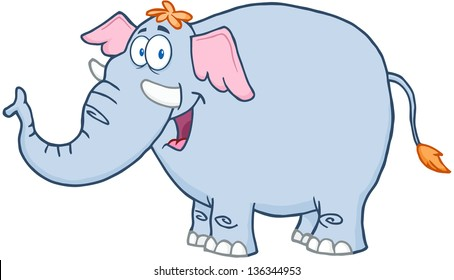 Happy Elephant Cartoon Mascot Character. Raster Illustration.Vector Version Also Available In Portfolio.
