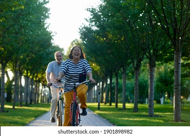 Happy emotional couple on bikes. Retired couple cycling outdoors in the park.