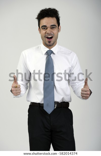 Happy employee with thumbs up gesture