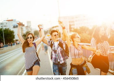 Happy energetic, young people having fun