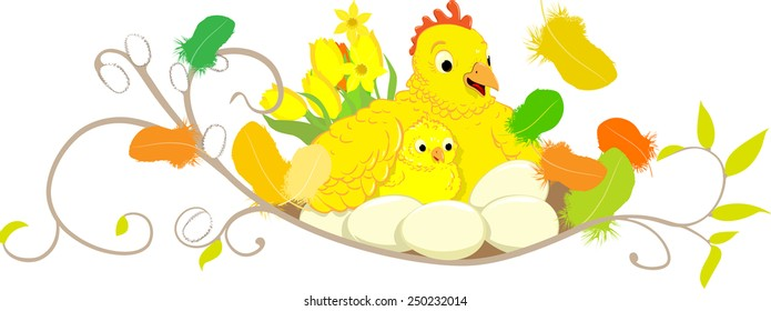 Happy ester chicken and hen illustration for header