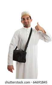 Happy ethnic arab man showing a thumbs up hand sign.  White background. [May be offesive gesture in Middle Eastern Countries and Internationally]