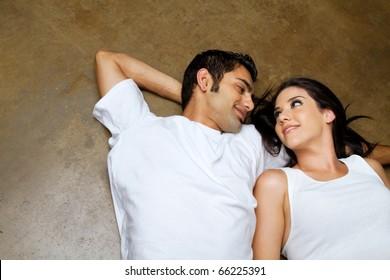 Happy ethnic couple dating