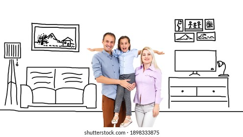 Happy ethnicity family discuss new home renovation relocating in own apartment, parents and cute child talk enjoy moving day