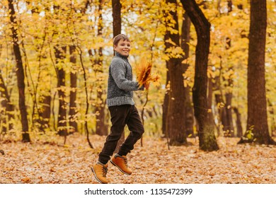 Happy, excited boy, runnning with bunch of golden leaves in autumn park.