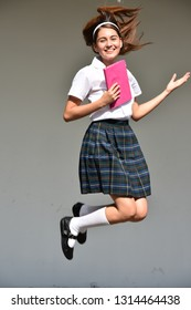 Happy Excited Girl Student Jumping