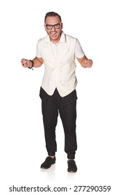 Happy excited man screaming celebrating success, in full length over white background