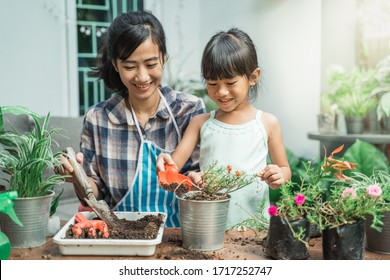 happy excited mother and her daughter gardening together plants some flower at home