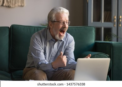 Happy excited old elderly man winner excited by reading good news looking at laptop, overjoyed senior mature grandfather watching game online celebrating goal bid bet win great result victory concept