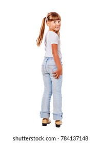 Happy excited walking away girl isolated on white