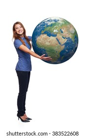 Happy excited woman in full length holding earth globe in her hands, Africa and Europe in front, over white background