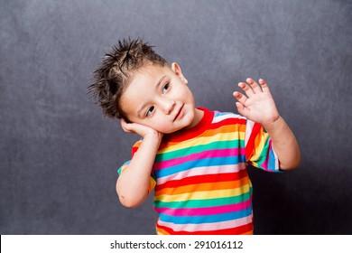 happy expiration. boy fashion portrait. Child model.