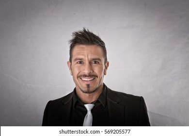 happy expression for a man, light background