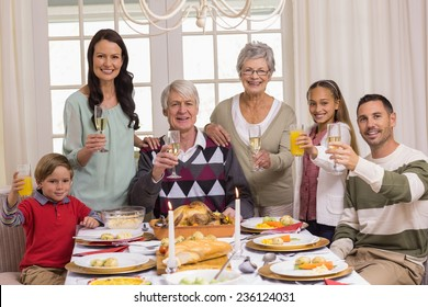 Happy extended family at christmas toasting at camera at home in the living room