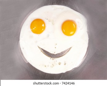 Happy Face Frying Eggs Sunny Side Up Close-up