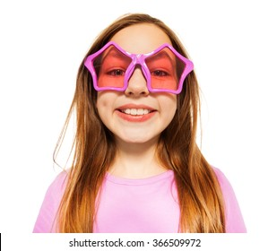 Happy face of girl in glasses with star frames