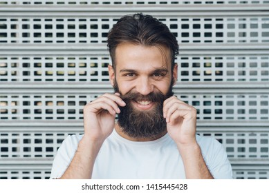 Happy face portrait of man with the beard