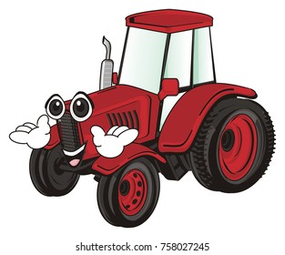 happy face of red tractor with hands