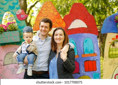 happy familly in park