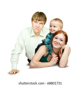 Happy family of 3 people lying over white