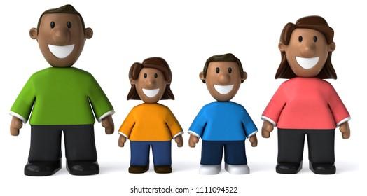 Happy family - 3D Illustration