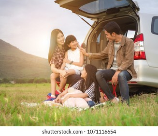 happy family Asia enjoying and summer vacation