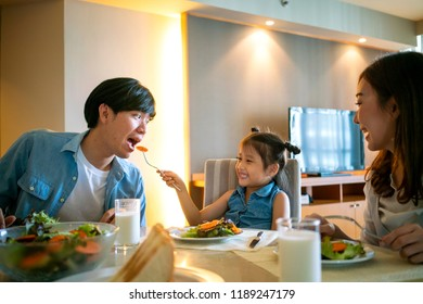 Happy family ave breakfast together at home, happy family concept