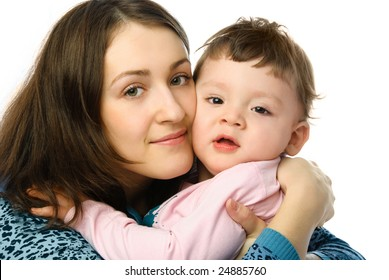 happy family, beautiful young mother embracing her one year old son