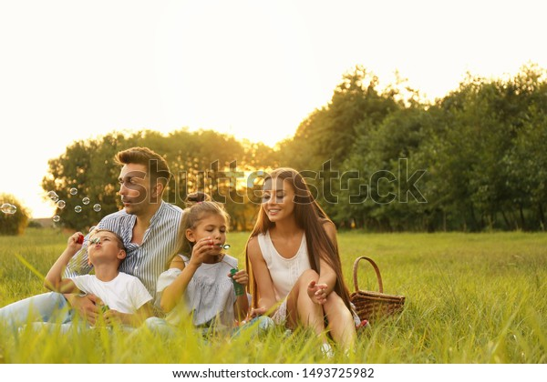 Happy family blowing soap bubbles in park at sunset. Summer picnic