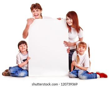 Happy family with children holding banner. Isolated.