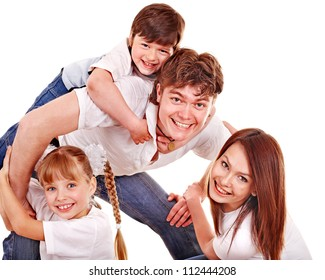 Happy family with children. Isolated.