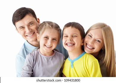 Happy family with children on a white background